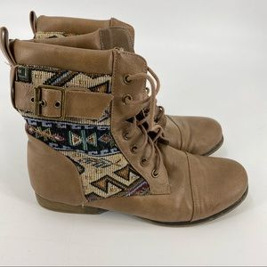 Call it spring tan combat lace up boots